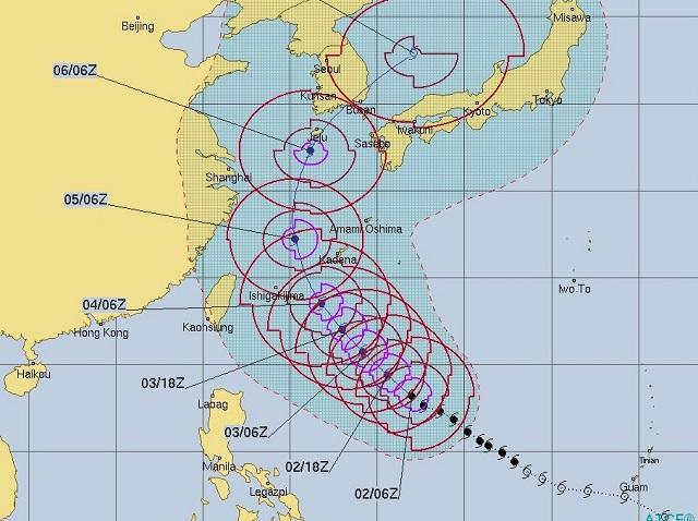 台風25号進路予想