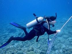 ロープをもって安全に浮上すると楽です