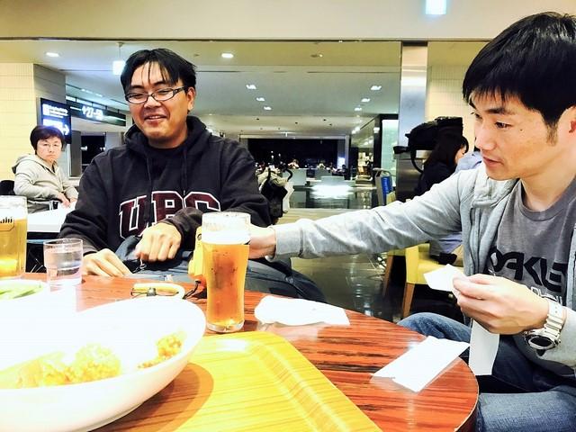 成田空港で乾杯